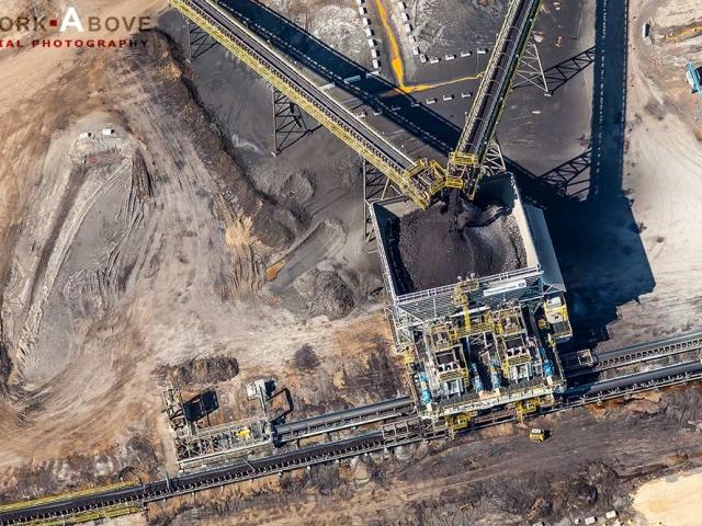 Aerial photo of oil sands bitumen conveyor