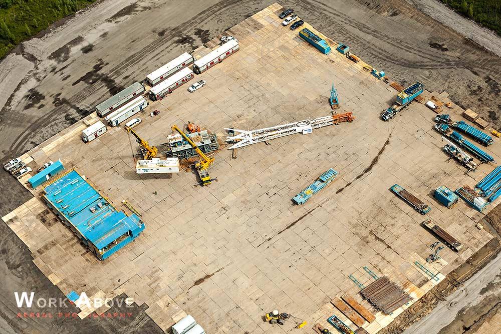 Aerial photo of SAGD oil rig