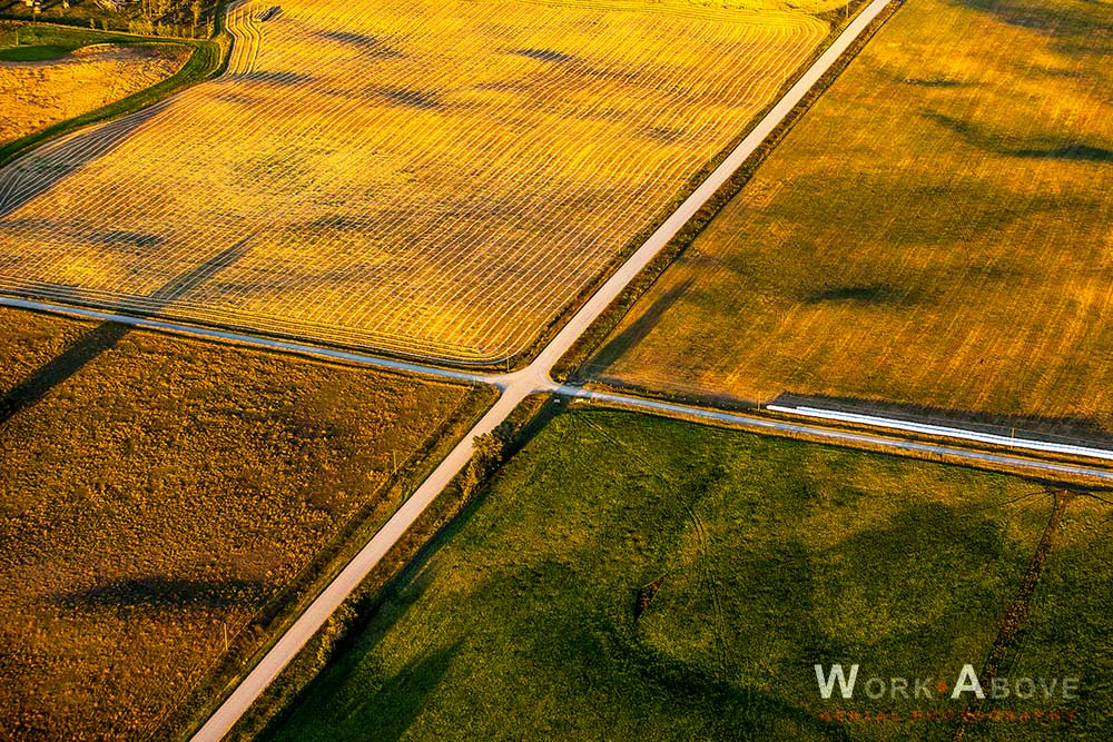 Aerial photo of prairie crossroads 09091335