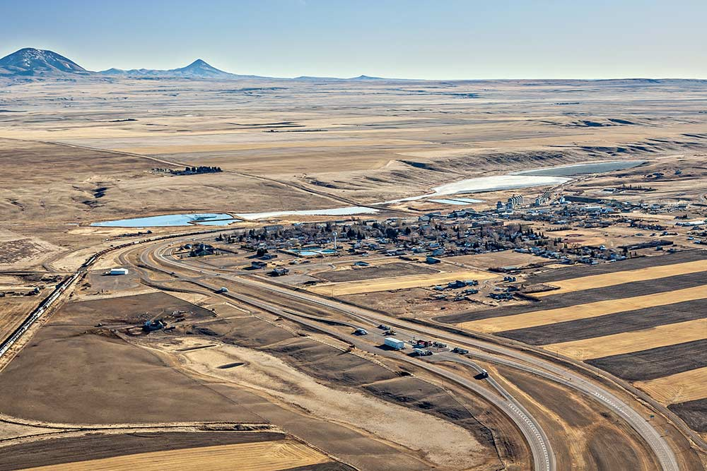 Aerial photo of town of Coutts, Alberta on the Montana border. 09112342