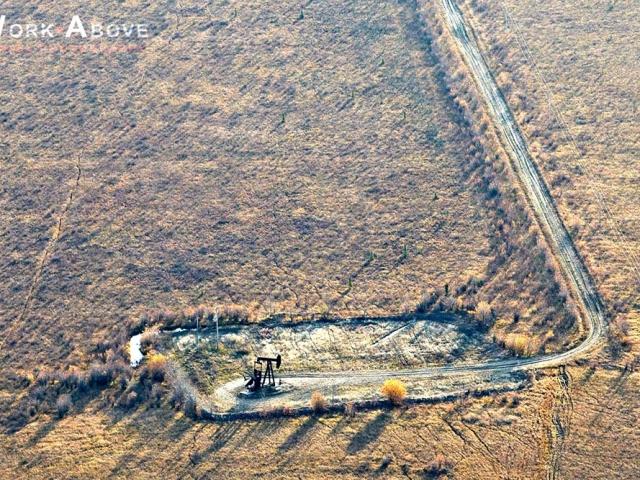 Aerial photo of oil pumpjack