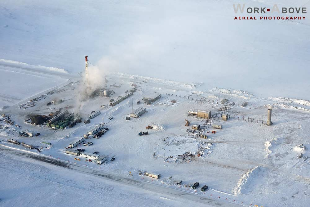 Aerial photo of winter oil rig