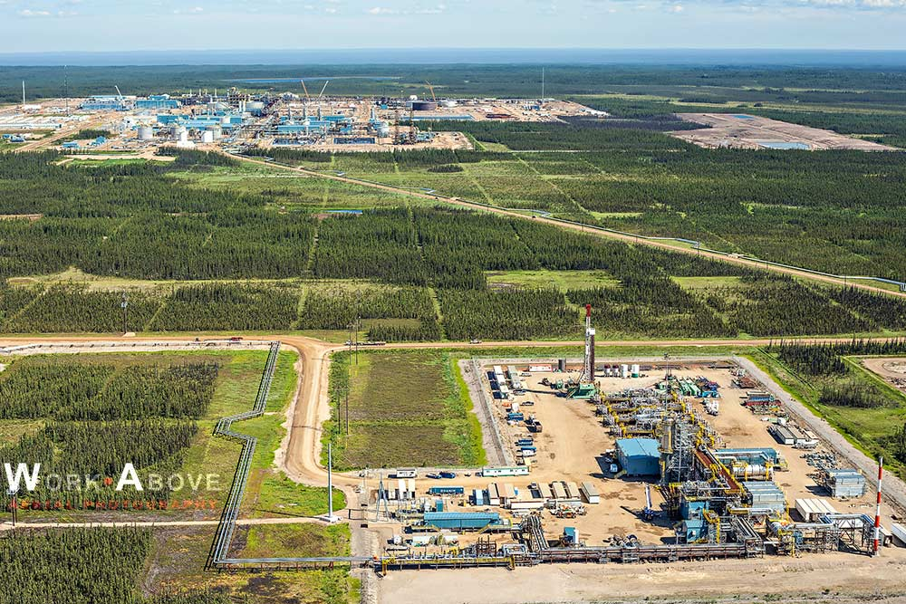 Aerial photo of oil sands plant