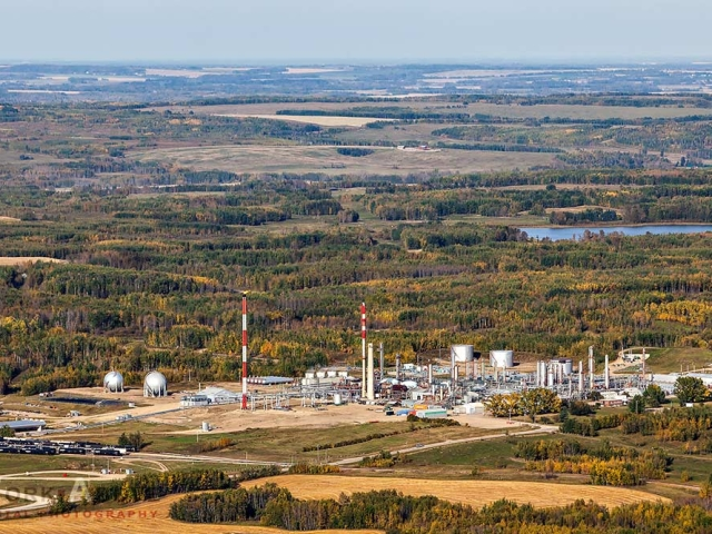 Aerial photo of Alberta gas plant