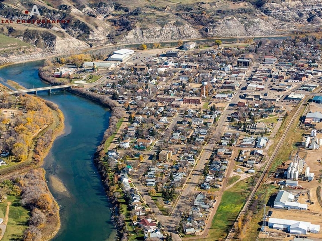 Aerial view of Drumheller, Alberta on the Red Deer river. 151014_6062
