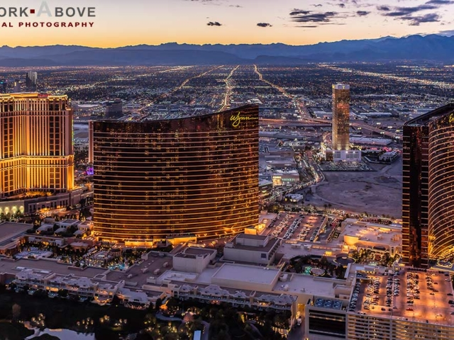 Night Aerial Photo of Las Vegas Strip and Hotels - 151127-3685
