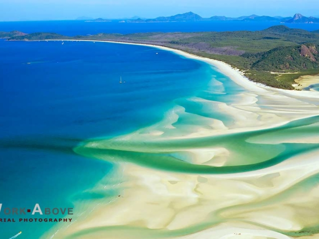 Aerial photo of beaches at Whitsunday Islands - Australia1081