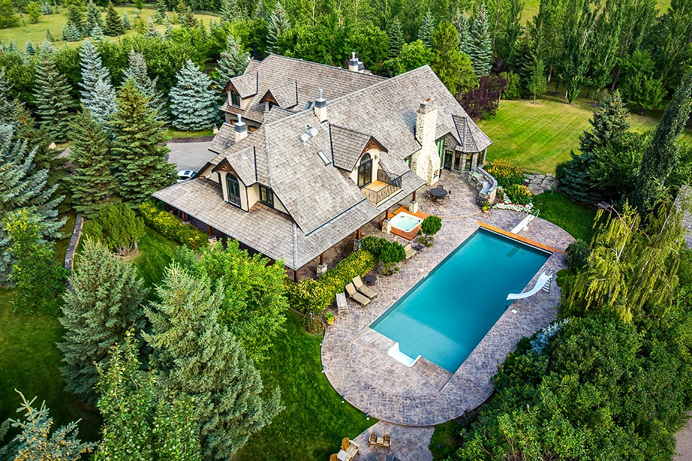 Aerial photo of Alberta home.